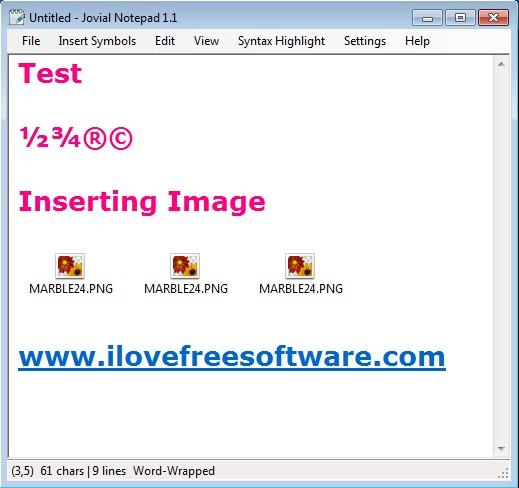 Jovial Notepad image link insert