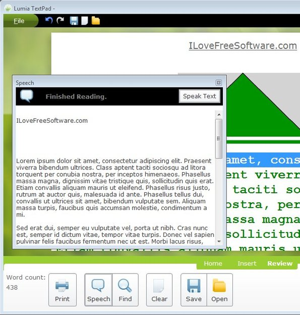 Lumia TextPad text to speech