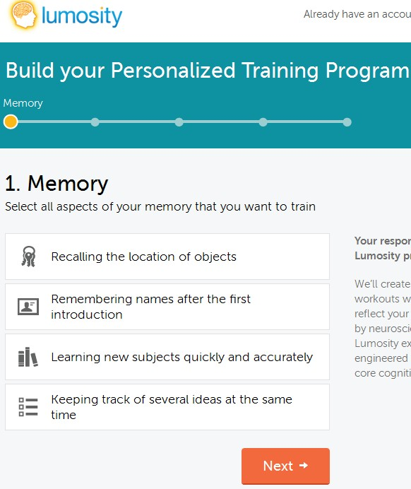 Lumosity default window