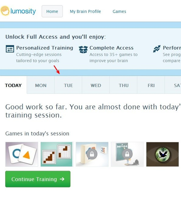 Lumosity exercise plan