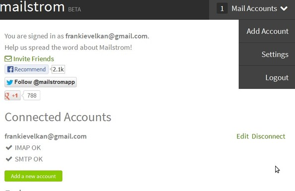 Mailstrom connecting account
