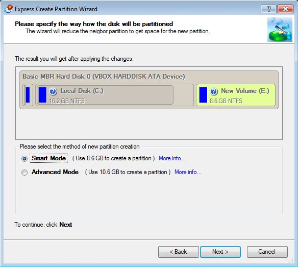 Paragon Partition Manager wizard