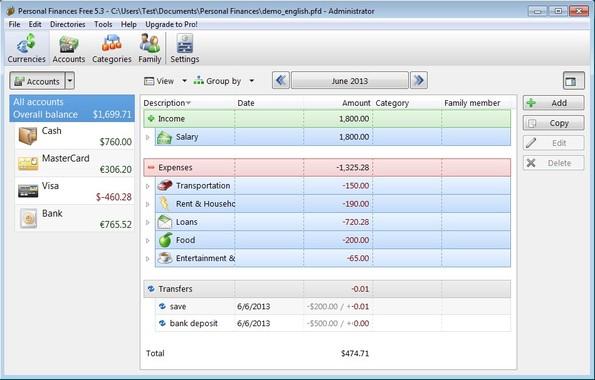 Personal Finances default window