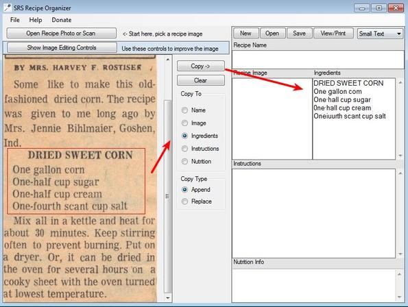 SRS Recipe Organizer converting ingrediants