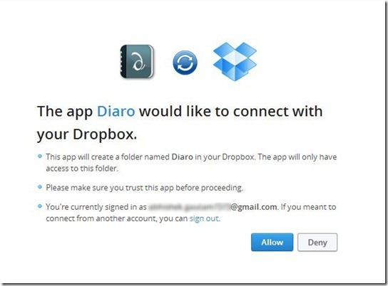 Diaro Online-connect with dropbox-write online diary, journal and notes