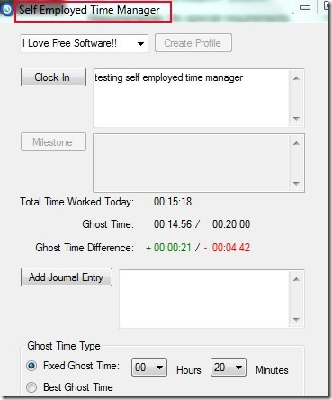 Self Employed Time Manager 01 time tracking application