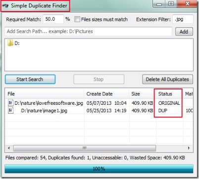 Simple Duplicate Finder 01 find and remove duplicate files