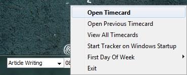 Tiny Time Tracker context menu
