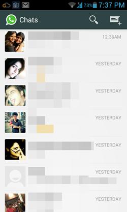 WhatsApp interface loaded up