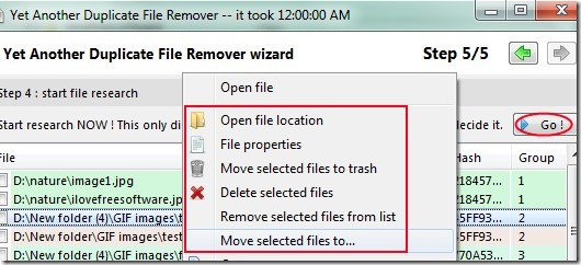 Yet Another Duplicate File Remover 05 free software for removing duplicate files