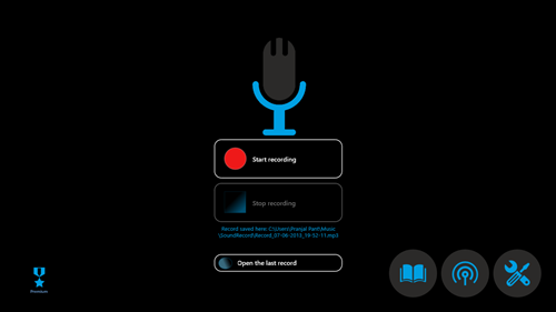 easy sound recorder main app screen