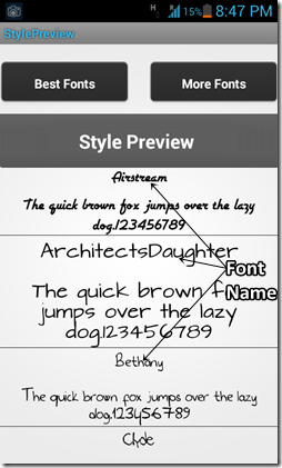 font style preview
