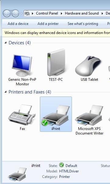 iPrint default window