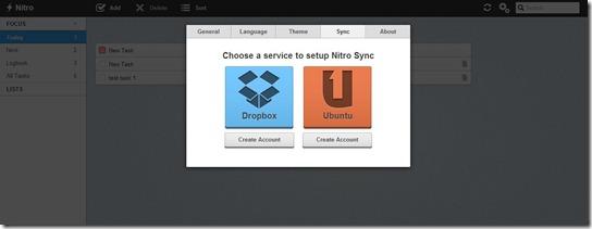 Nitro- Sync to Ubuntu One or Dropbox - task management