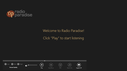radio paradise main screen
