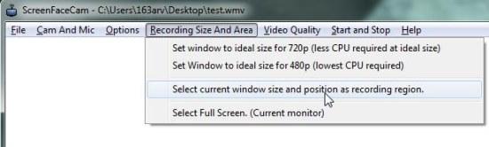 screenfacecam recording option