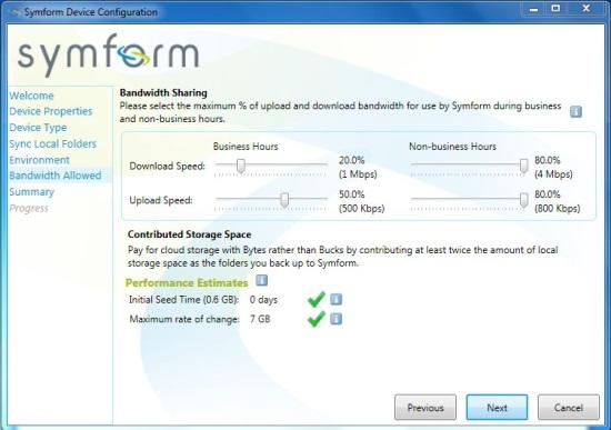 symform bandwidth