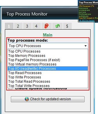 top process monitor modes