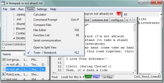A Notepad- interface