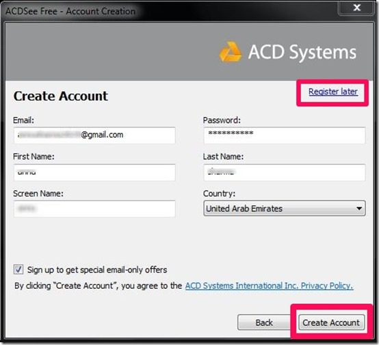 ACDSee account creation