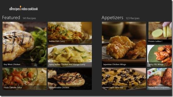 Allrecipes Video Cookbook- main screen