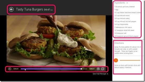 Allrecipes Video Cookbook- recipe screen