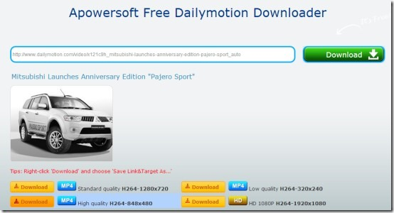 Apowersoft Free Dailymotion Downloader- main interface
