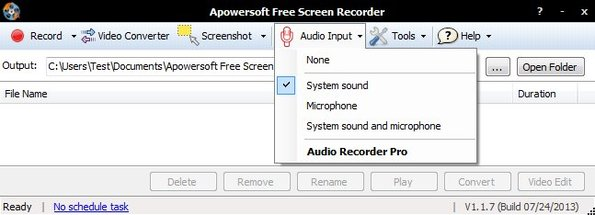 Apowersoft Free Desktop Recorder setting up recording