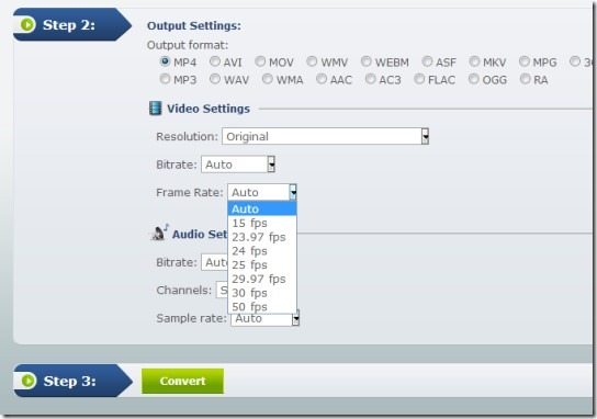 Apowersoft Free Online Video Converter- adjust audio video settings