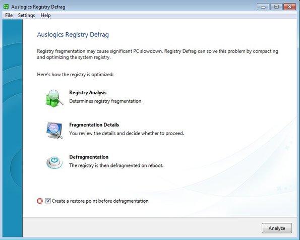 Auslogics Registry Defrag default window