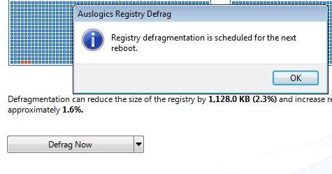 Auslogics Registry Defrag reboot