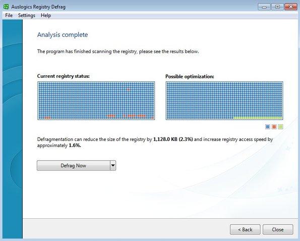 Auslogics Registry Defrag working