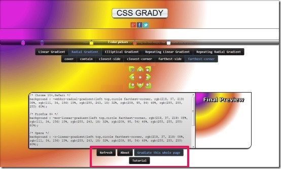 CSS Grady gradient whole page