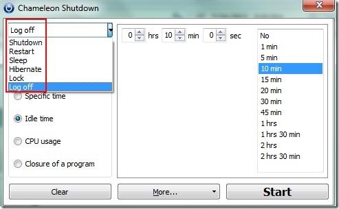 Chameleon Shutdown- parameters