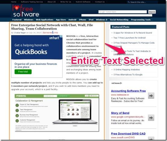 ChromeVox entire text selected