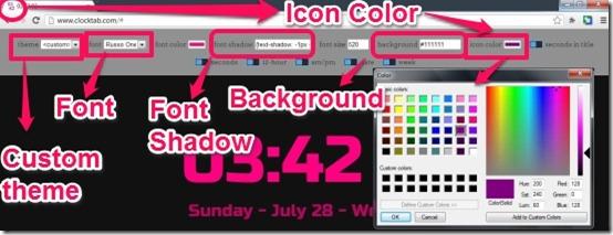 Clock custom theme-icon color
