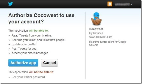 Cocoweet authorize