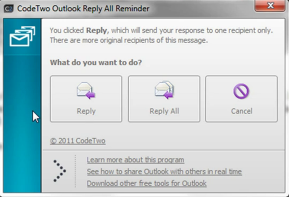 CodeTwo Outlook Reply All Reminder default window