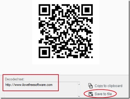 CodeTwo QR Code Desktop Reader- decoded text