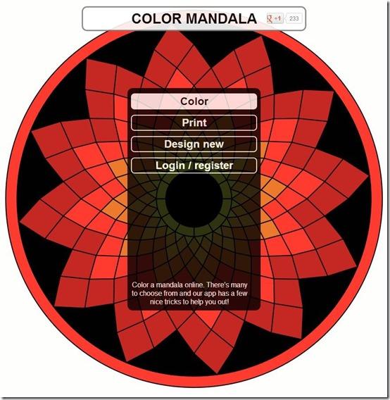 ColorMandala main interface