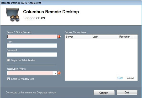 Columbus Remote Deskop default window