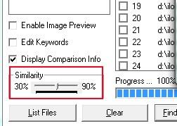 DuplicateFiles- select similarity percentage