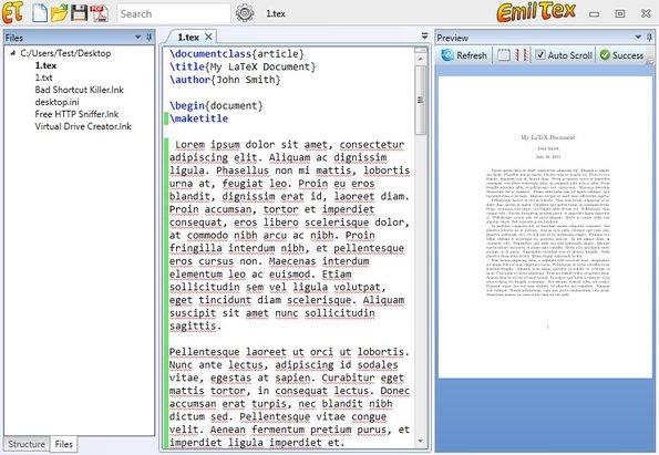 EmilTex editing documents