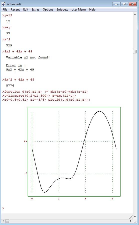 Euler Math Toolbox default window