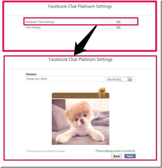 Facebook Chat Platinum theme settings