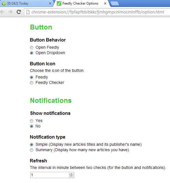 Feedly Checker settings