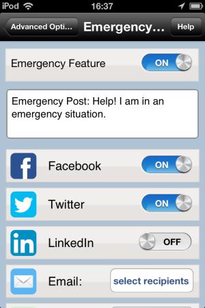 PostUno-Emergency settings-Post To Multiple Social Networks
