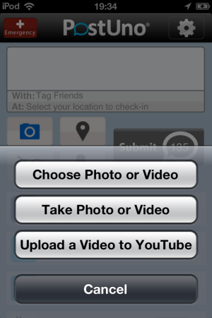 PostUno-video or photo or Youtube-post to multiple social networks