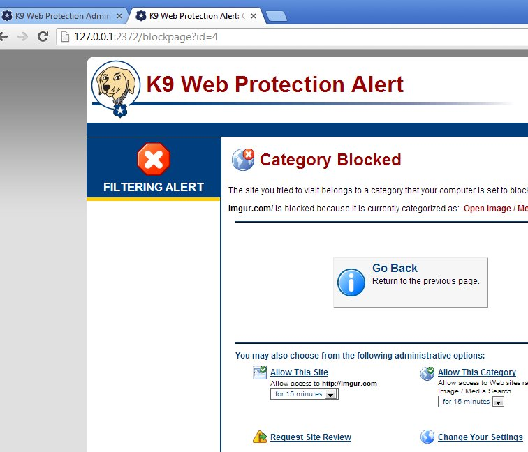 K9 Web Protection default window