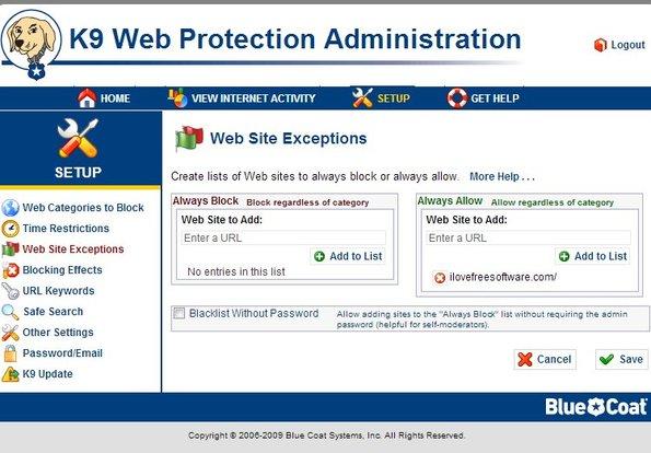 K9 Web Protection settings